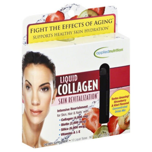 Applied Nutrition Liquid Collagen, Liquid-Tubes, Strawberry & Kiwi Flavored
