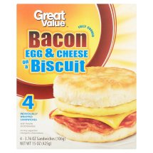 Great Value Bacon Egg & Cheese on a Biscuit Sandwiches, 3.76 oz, 4 count