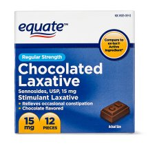 Equate Regular Strength Laxative Sennoside Chocolate Pieces, 15 mg, 12 Ct