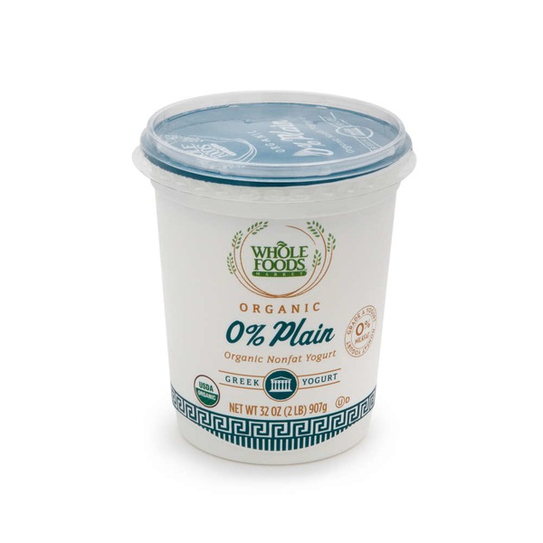 Whole Foods Market Organic Plain 0% Non Fat Yogurt