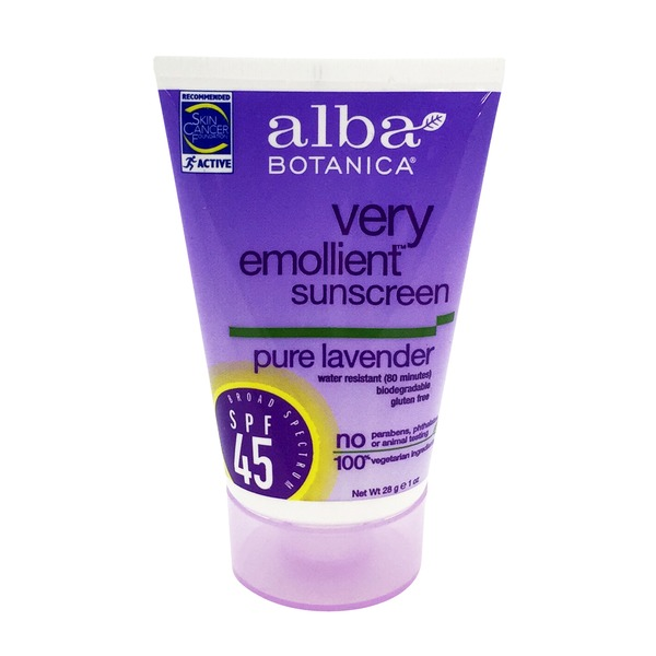 Alba Botanica Pure Lavender Very Emollient SPF 45 Natural Protection Sunblock