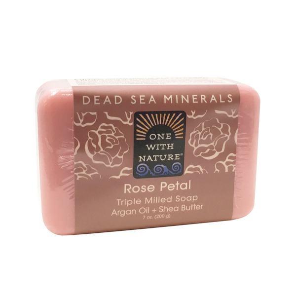 One With Nature Dead Sea Minerals Rose Petal Triple Milled Soap