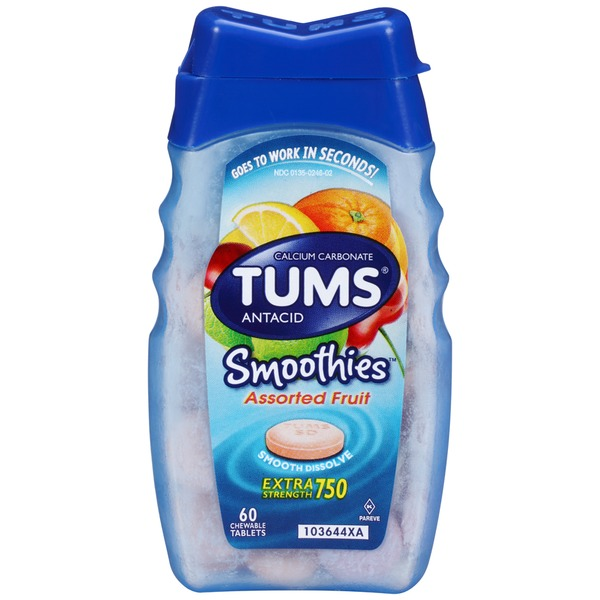 Tums Smoothies Extra Strength 750 Assorted Fruit Tablets Antacid/Calcium Carbonate
