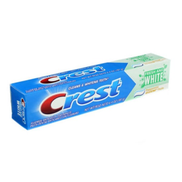 Crest Fresh and White Gleem Anticavity Whitening Peppermint Flavor Toothpaste