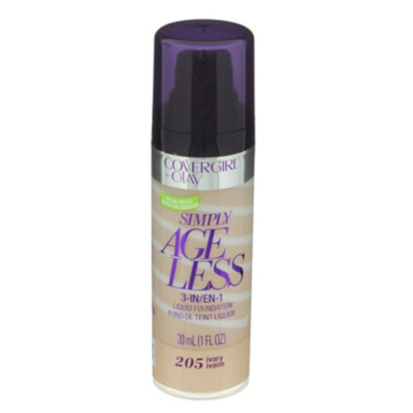 CoverGirl Simply Ageless COVERGIRL+Olay Simply Ageless 3-in-1 Liquid Foundation, Ivory 1 fl oz (30 ml) Female Cosmetics