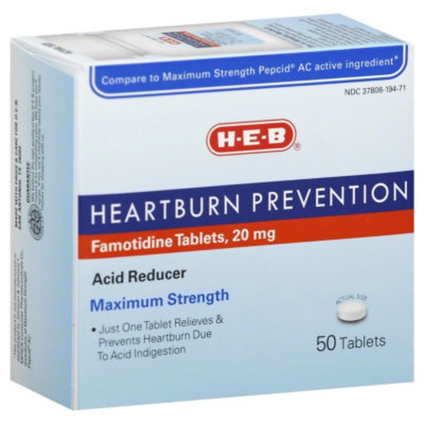 H-E-B Heartburn Prevention Maximum Strength Acid Reducer 20 Mg Tablets