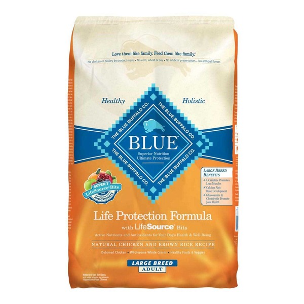 Blue Buffalo Food for Dogs, Natural, Life Protection Formula, Large Breed Adult, Natural Chicken and Brown Rice Recipe