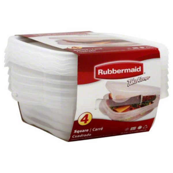 Rubbermaid Take Alongs Squares Containers + Lids - 4 CT