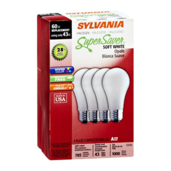 Sylvania Super Saver Halogen 43 Watts Soft White Light Bulbs