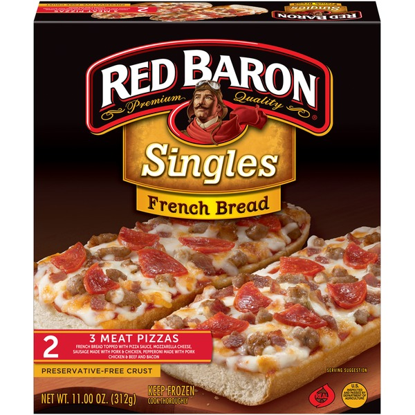 Red Baron Singles French Bread 3 Meat Pizza