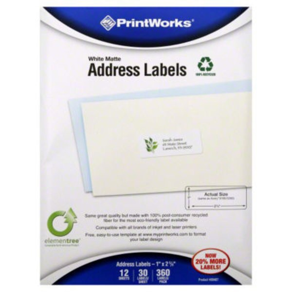 PrintWorks White Matte Address Labels