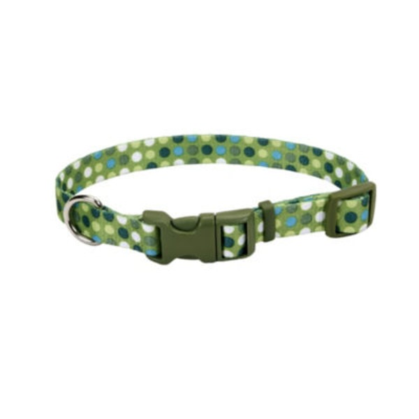 Coastal Pet Pet Attire Green Polka Dots 3/8 Inch Adjustable Collar