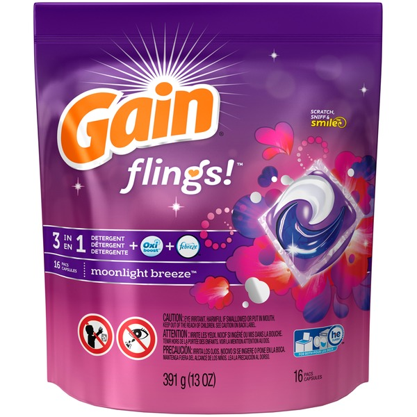 Gain flings! Laundry Detergent Pacs, Moonlight Breeze, 16 count Laundry