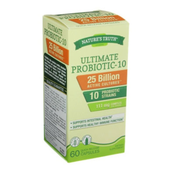 Nature's Truth Organic Ultimate Probiotic-10 Quick Release Capsules Dietary Supplement