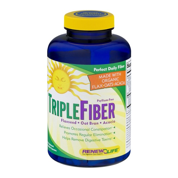 Renew Life Organic Triple Fiber Flaxseed-Oat Bran-Acacia Dietary Supplement