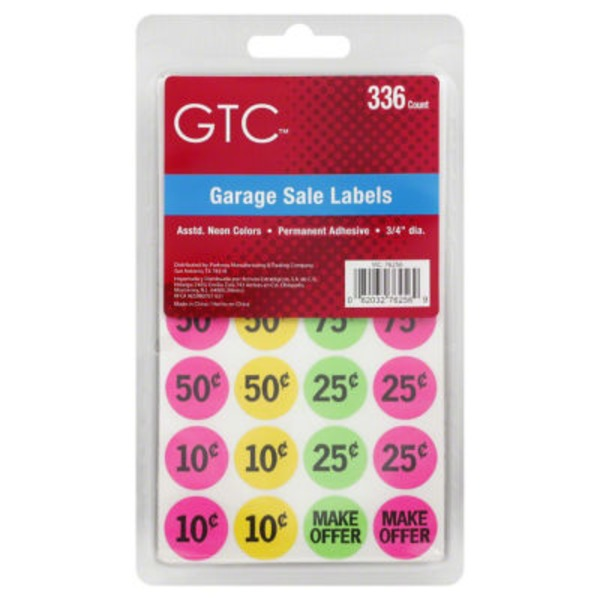 GTC Assorted Neon Color Garage Sale Labels