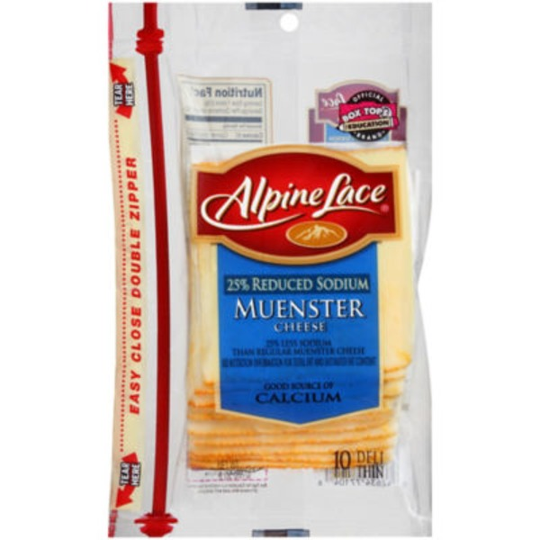 Alpine Lace® Reduced Sodium Muenster Deli-Thin Slices Cheese