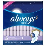 Always Maxi Size 5 Extra Heavy Overnight Pads with Wings, Unscented, (Choose your Count)