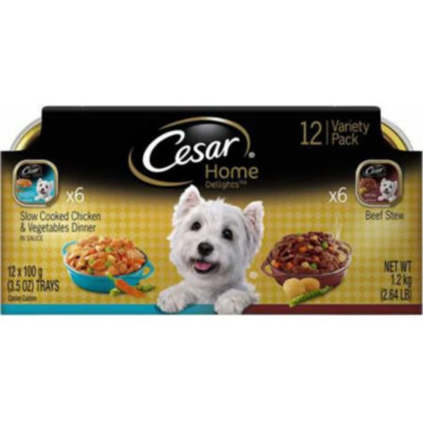 Cesar Canine Cuisine Home Delights Variety Pack Slow Cooked Chicken & Vegetables Dinner in Sauce/Beef Stew  Wet Dog Food