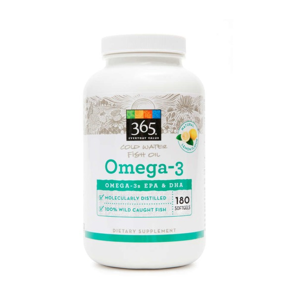 365 Cold Water Fish Oil Omega-3 Natural Lemon Flavor