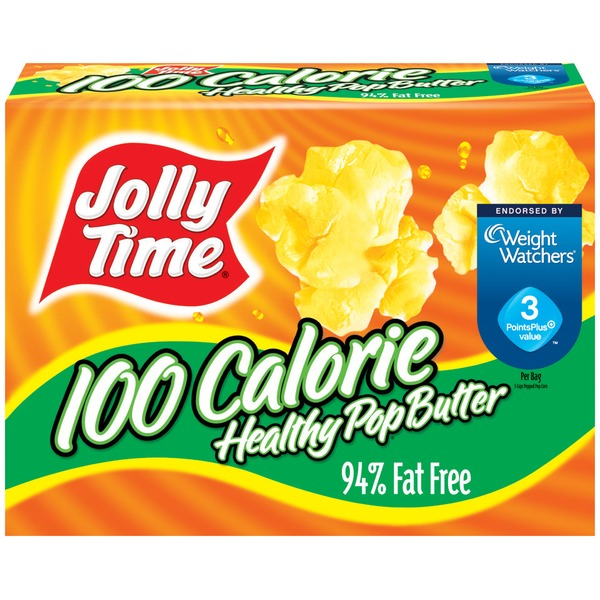 Jolly Time 100 Calorie Healthy Pop Butter 1.2 Oz Mini Bags Microwave Pop Corn