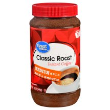 Great Value Classic Roast Instant Coffee, Medium Roast, 12 oz