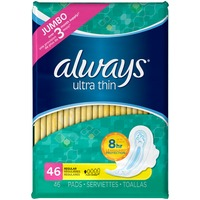 Always Thin Ultra Always Ultra Thin Size 1 Regular Pads With Wings, Unscented, 46 count Feminine Care