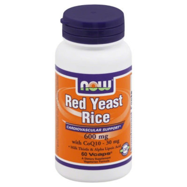 Now Red Yeast Rice, Cardiovascular Support, 600mg, Vcaps, Bottle