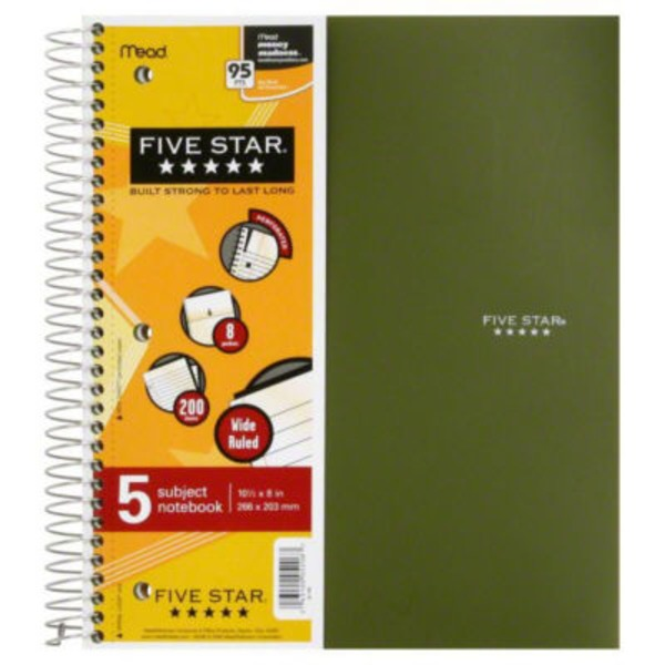 Five Star 5 Subject Notebook, Wide Ruled, 10-1/2 x 8 in