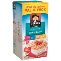 Quaker Fruit & Cream Instant Oatmeal Variety Pack, 20 Count, 1.23 oz Packets