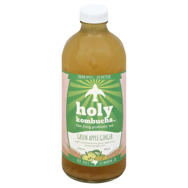 Holy Kombucha Tea, Raw Fizzy Probiotic, Green Apple Ginger