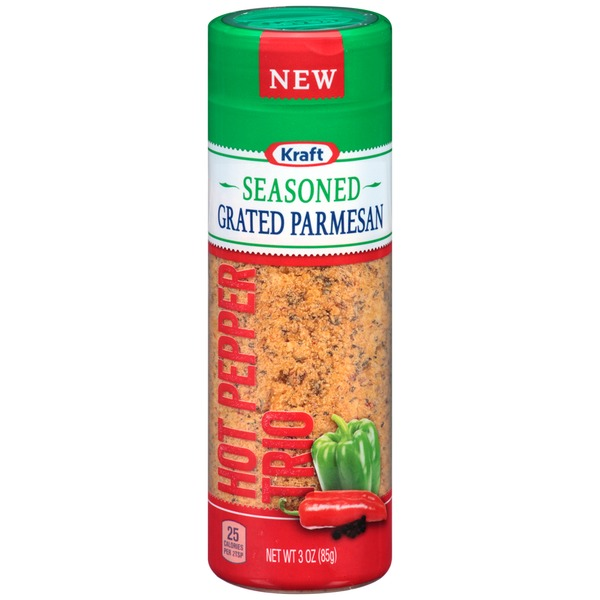 Kraft Grated Cheese Seasoned Grated Parmesan Hot Pepper Trio Cheese