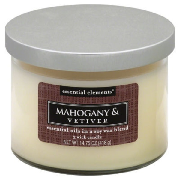 Candle Lite Candle, 3 Wick, Mahogany & Vetiver