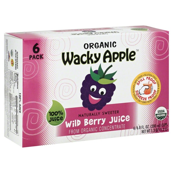 Wacky Apple Organic, Wild Berry Juice, 6 Pack, Box