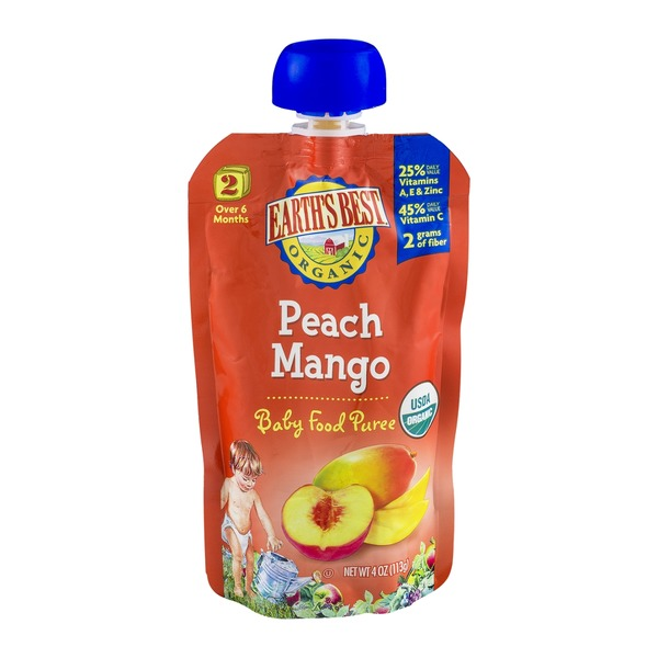 Earth's Best Organic Peach Mango Baby Food Puree Stage 2