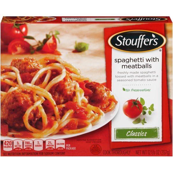Stouffer's Classics Freshly made spaghetti tossed with meatballs in a seasoned tomato sauce Spaghetti with Meatballs