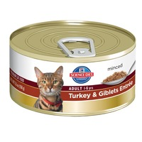 Hill's Science Diet Cat Food, Minced, Adult (1-6 Years), Turkey & Giblets Entree