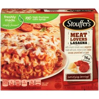 Stouffer's Satisfying Servings Made with a hearty tomato sauce, pepperoni, Italian sausage, ground beef and pork Meat Lovers Lasagna