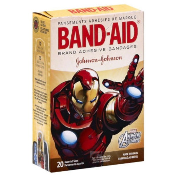Band-Aid Brand Adhesive Bandages Assorted Sizes Marvel Avengers - 20 CT