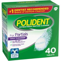 Polident® Triple Mint Freshness for Partials Antibacterial Daily Denture Cleanser Effervescent Tablets 40 ct Box