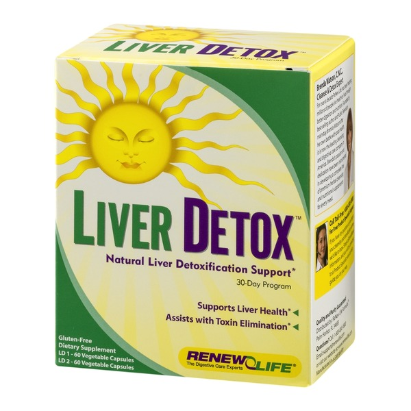 Renew Life Liver Detox Natural Liver Detoxification Support 30-Day Program Vegetables Capsules - 120 CT