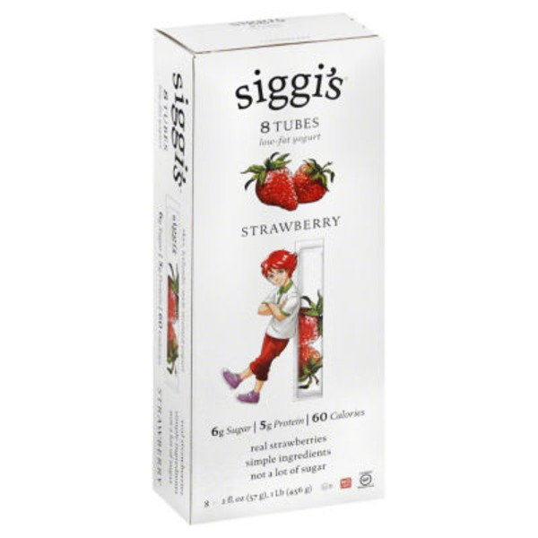 Siggi's Low-Fat Yogurt Tubes Strawberry - 8 CT