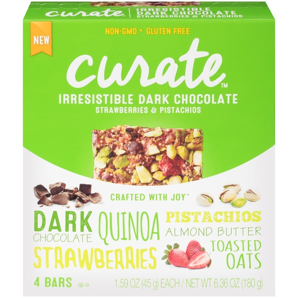 Curate Irresistible Dark Chocolate Strawberries & Pistachios Snack Bars