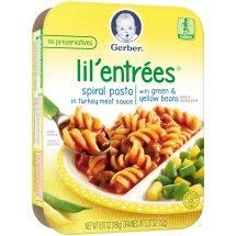 Gerber Lil' Entrees, Spiral Pasta in Turkey Meat Sauce with Green and Yellow Beans, 6.67 oz Tray