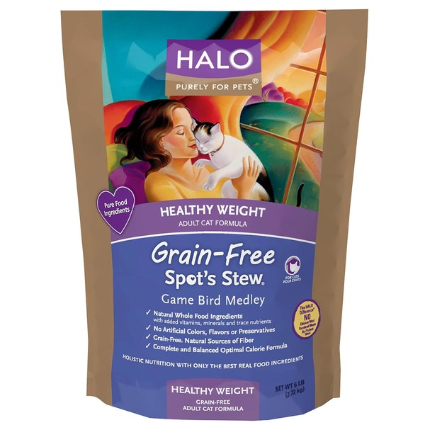 Halo Spot's Stew Healthy Weight Grain Free Game Bird Medley Cat Food 6 Lbs.