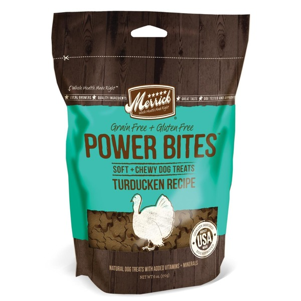 Merrick Grain Free + Gluten Free Power Bites, Soft & Chewy Dog Treats TurDucken Recipe