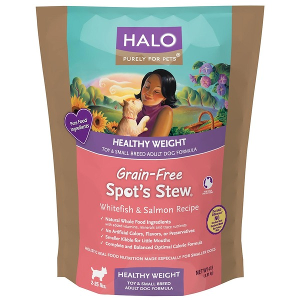 Halo Spot's Stew Healthy Weight Grain Free Whitefish & Salmon Toy & Small Breed Adult Dog Food 4 LB