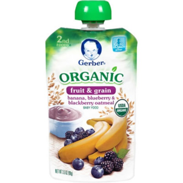 Gerber Organic 2 Nd Foods Organic Banana Blueberry & Blackberry Oatmeal Baby Food