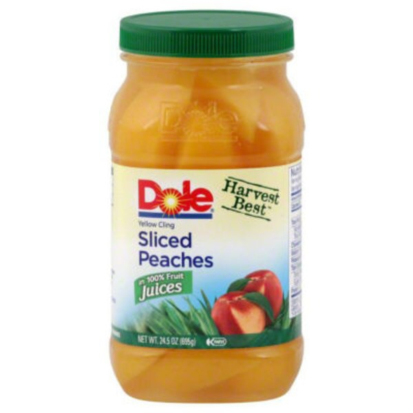 Dole Plastic Jars Yellow Cling Sliced in 100% Fruit Juice Peaches