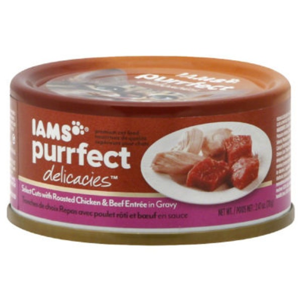 Iams Purrfect Delicacies Select Cuts with Roasted Chicken & Beef Entree in Gravy Cat Food